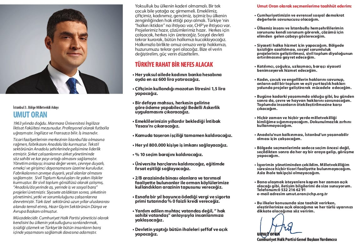 Umut Oran'ın 2011 Milletvekili Seçimleri Broşürü
