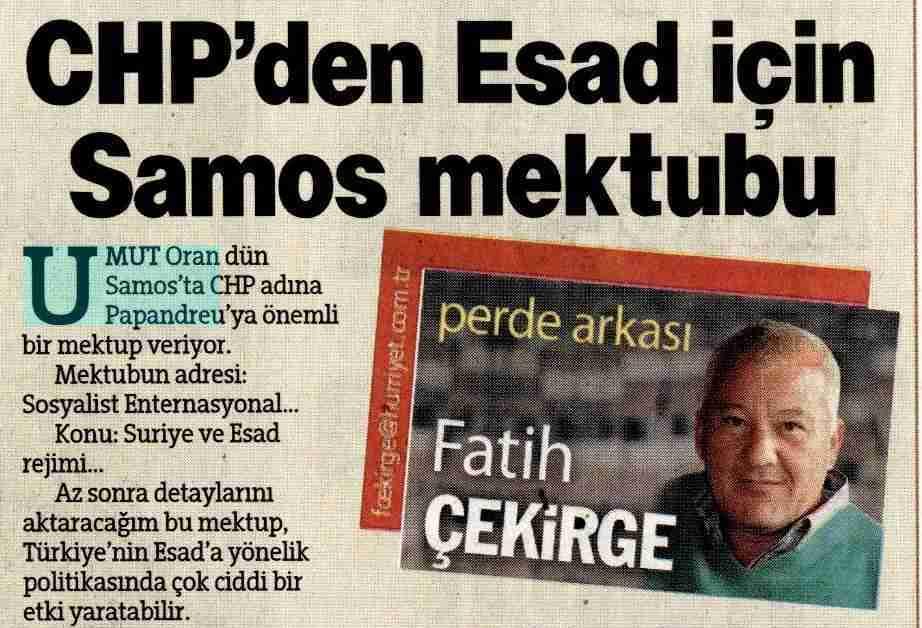 CHP'den Esad için Samos mektubu-Fatih Çekirge