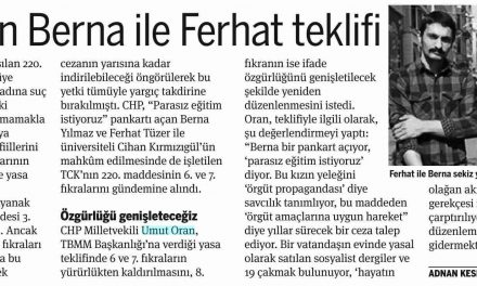 CHP'den Berna ile Ferhat teklifi-Taraf