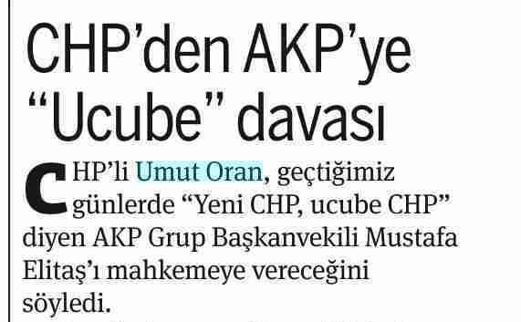 "CHP'den AKP'ye ""Ucube"" davası-Taraf"