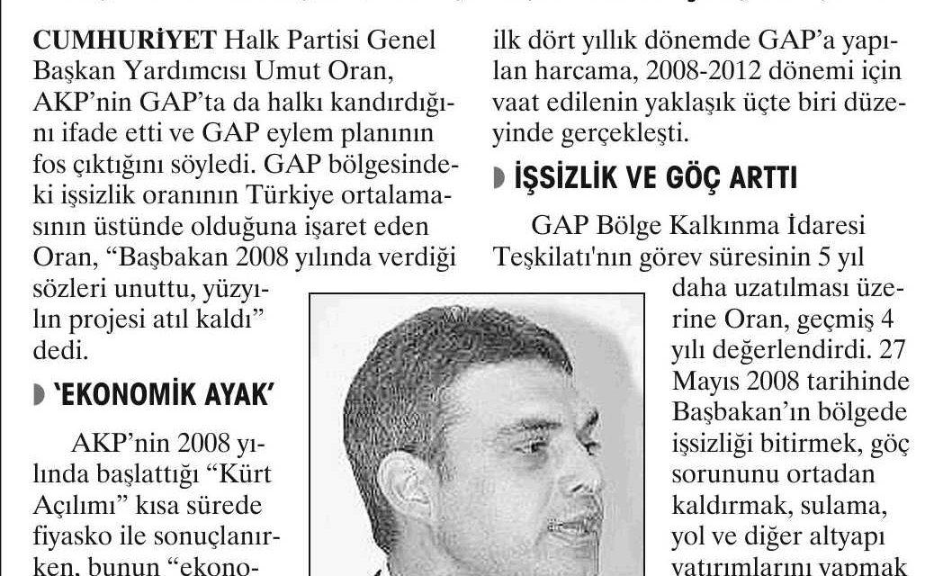 AKP, GAP'ta halkı kandırdı-Yurt
