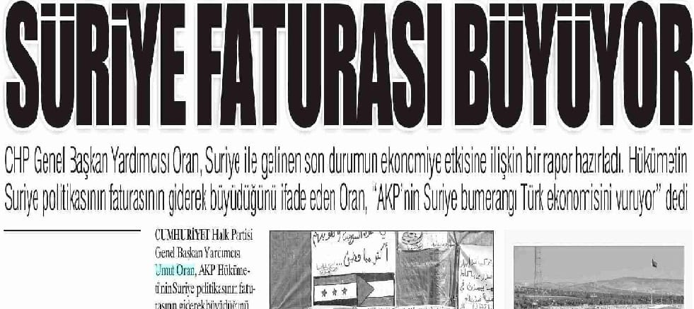 Suriye faturası büyüyor- Yurt Gazetesi