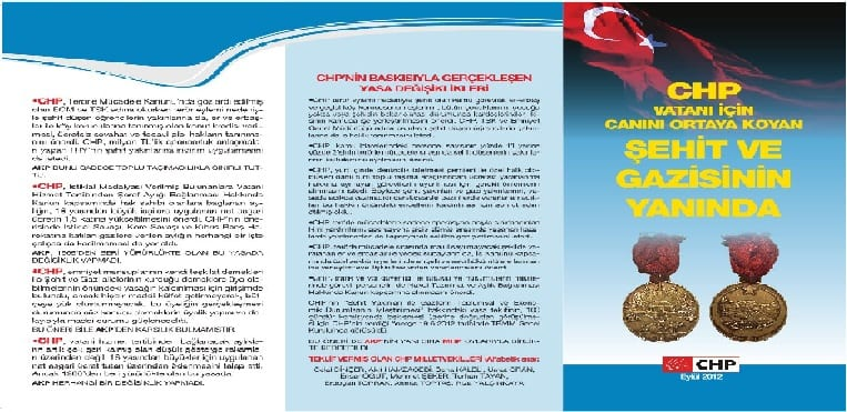 CHP ŞEHİT ve GAZİSİNİN YANINDA
