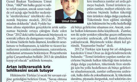 Umut Oran:2013 kayıp yıl olacak-Aydınlık