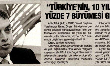 Türkiye'nin 10 Yıl Boyunca Yüzde 7 Büyümesi Gerekiyor-Önce Vatan