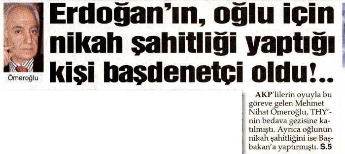 Erdoğan'ın, oğlu için nikah şahitliği yaptığı kişi başdenetçi oldu-Sözcü