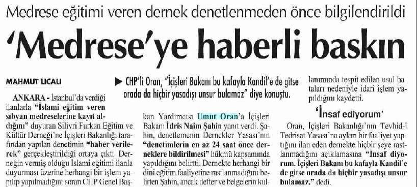 Medrese'ye haberli baskın-Cumhuriyet
