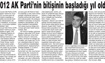 """""""2012 AK Parti'nin bitişinin başladığı yıl oldu"""" – Aydın Hedef"""