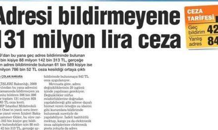 Adresi bildirmeyene 131 milyon lira ceza-Habertürk