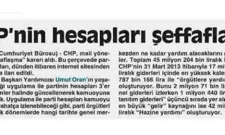 CHP'nin hesapları şeffaflaştı -Cumhuriyet