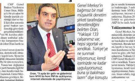 Umut Oran:CHP'nin mali sistem dönüşümünü anlattı-Milliyet