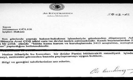 CHP, Vali Avni Coş'la ilgili tüm iddiaları İçişleri'ne sordu