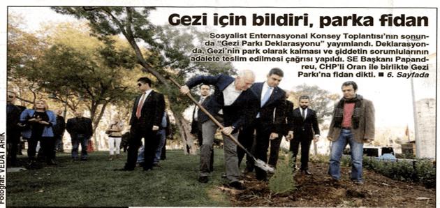 Gezi için bildiri, parka fidan – Cumhuriyet