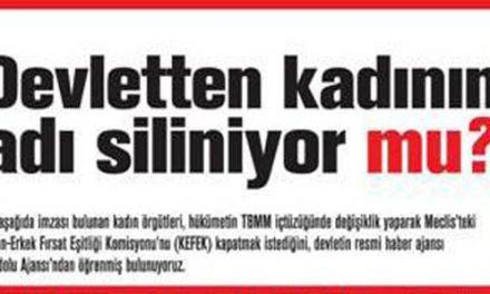 """CHP'den Erdoğan'a: """"Kadının adını devletten niçin siliyorsunuz"""""""