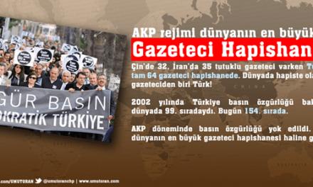 AKP rejimindeki Türkiye dünyanın en büyük gazeteci hapishanesi