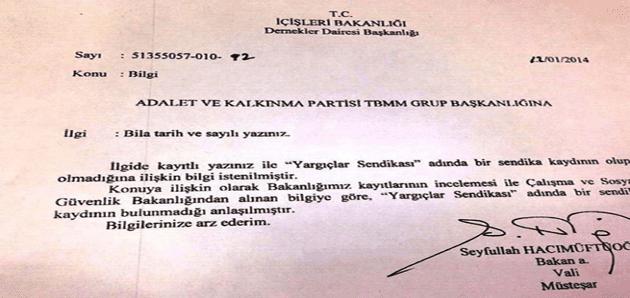 AKP istedi,İçişleri Bakanlığı Pazar günü resmi belge hazırladı elden teslim etti