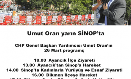 Umut Oran yarın SİNOP'ta
