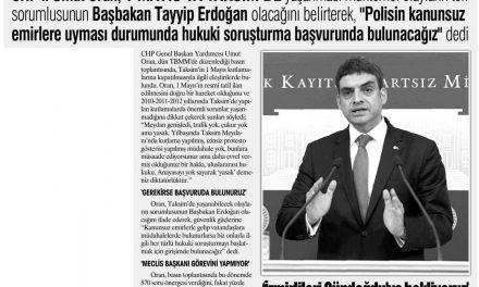 """""""Yaşanacaklardan Erdoğan sorumludur"""" Yurt Gazetesi"""