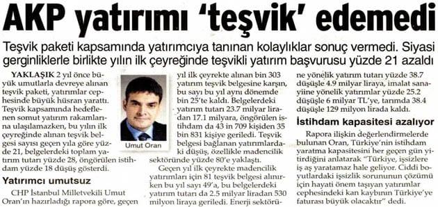 """AKP yatırımı """"teşvik"""" edemedi -Sözcü"""