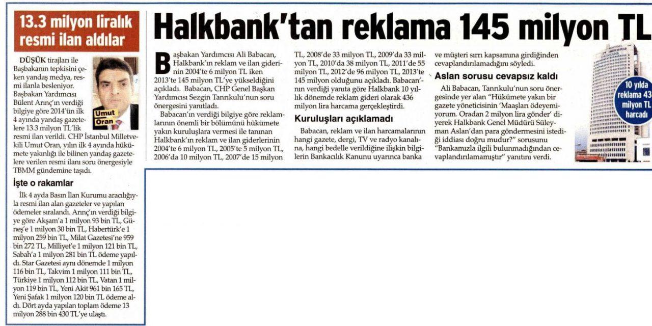 Halkbank'tan reklama 145 milyon TL-Sözcü