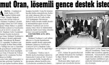 Umut Oran, lösemili gence destek istedi – Adana Ekspres