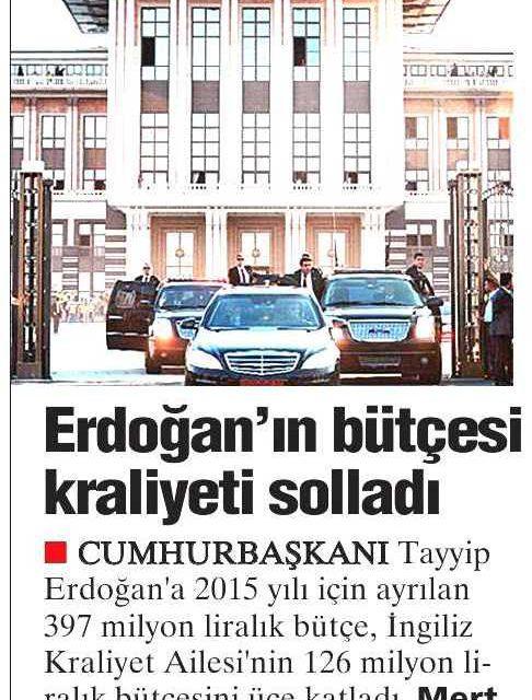 Erdoğan'ın bütçesi kraliyeti solladı – Yurt Gazetesi