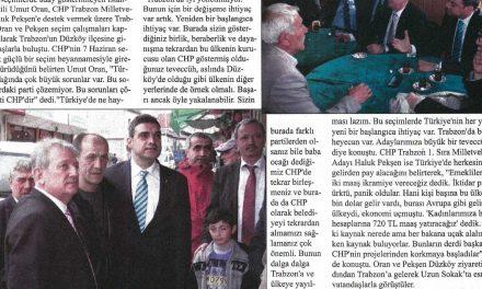 Oran'dan Pekşen'e Destek – Karadeniz'de İstikbal