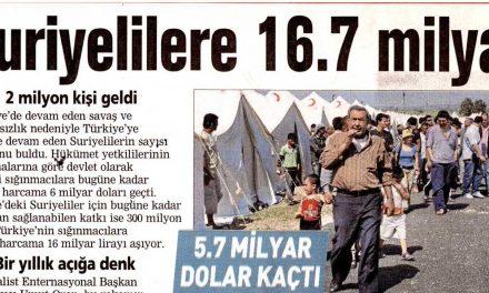 Suriyelilere 16.7 milyar – Posta