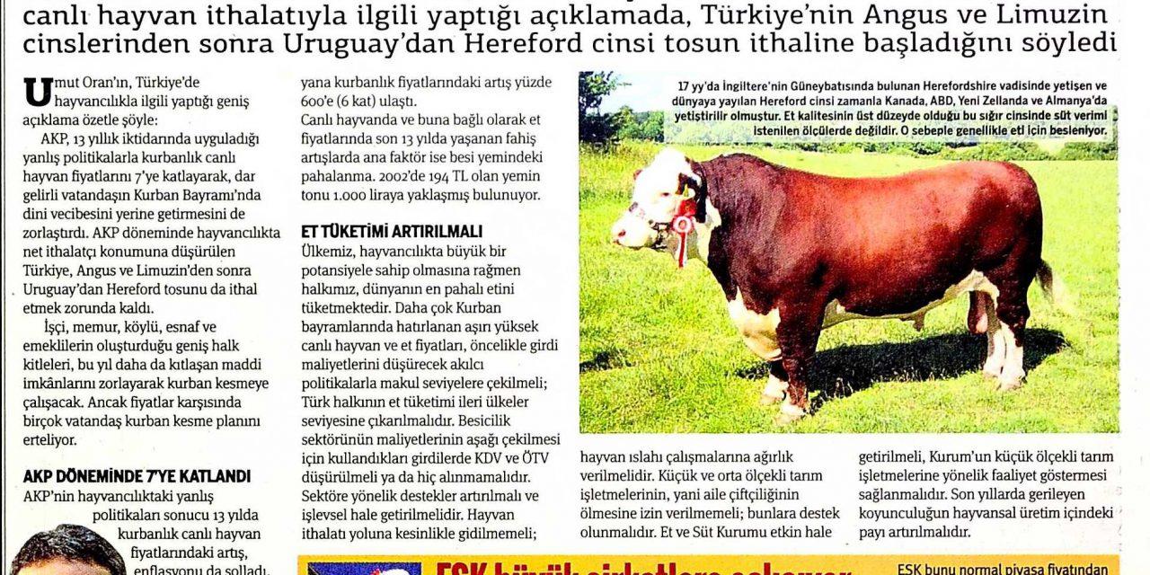 Hayvancılık ranta kurban olmuş – Taraf