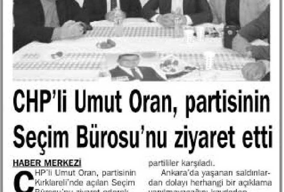 CHP'li Umut Oran, partisinin  Seçim Bürosu'nu ziyaret etti – Yeşilyurt