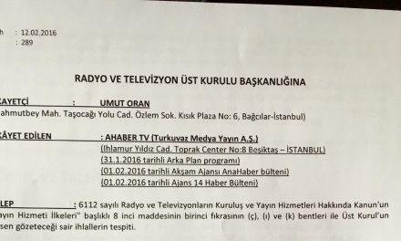 AHABER TV hakkında RTÜK'e yapılan şikayet