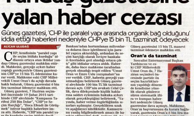 Yandaş Gazetesine Yalan Haber Cezası – Cumhuriyet