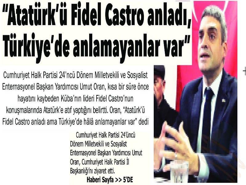 Atatürk'ü Fidel Castro anladı, Türkiye'de Anlamayanlar var – Afyon Kocatepe Gazetesi