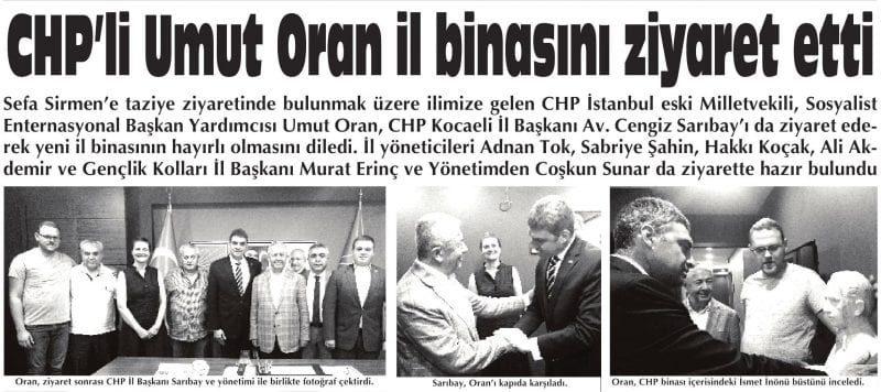 CHP'li Umut Oran Kocaeli İl Binasını Ziyaret etti